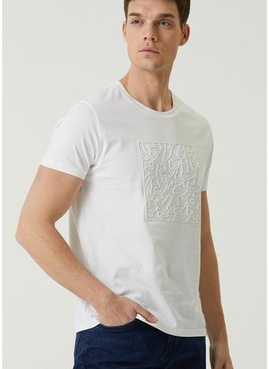 Beymen Club Beymen Club 101589649 Bisiklet Yaka Kısa Kolu Kabartmalı Logo Baskılı  Erkek T-Shirt Beyaz